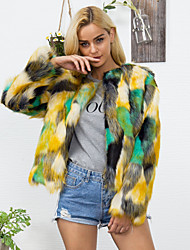 cheap -Women's Faux Fur Coat Regular Color Block Going out Yellow S M L XL