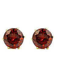 cheap -jewelry 14k gold plated hypoallergenic garnet round cubic zirconia 6 mm stud earrings set for pierced ears