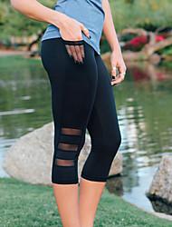 cheap -Women's Sporty Breathable Plus Size Slim Fitness Leggings Capri shorts Pants Solid Colored Calf-Length Mesh Patchwork Black