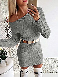 cheap -Women's Sweater Jumper Dress Short Mini Dress - Long Sleeve Solid Color Fall Off Shoulder Sexy Slim 2020 White Black Blushing Pink Gray S M L XL