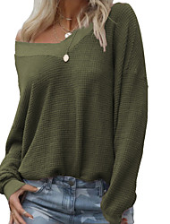 cheap -women's v neck waffle sweater knit long sleeve top oversized pullover tops gray xl