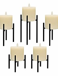 """cheap -candle holders set of 5 candelabra for fireplace accessories with black iron-3.5"""" diameter ideal for pillar led candles"""