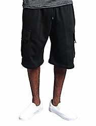 cheap -fashion 9 inch inseam board shorts for men casual big pockets pure color elastic waist trunks pants black