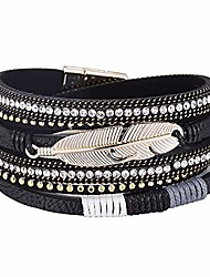 cheap -multilayer leather bracelet handmade crystal wrap bangle with magnetic clasp leather wrap bracelet bohemian jewelry gift for women and girl (black leather&feather)