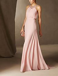 cheap -Sheath / Column Sexy Floral Engagement Formal Evening Dress Jewel Neck Sleeveless Sweep / Brush Train Chiffon with Pleats Beading 2021