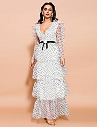 cheap -Sheath / Column Elegant Sexy Prom Formal Evening Dress V Neck Long Sleeve Ankle Length Chiffon with Sash / Ribbon Tier 2021