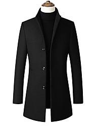 cheap -men's trench coat  blend slim fit top coat single breasted business overcoat black-fleece large