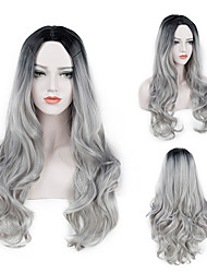 cheap -28 Long Wavy Wigs Black To Silver Gray Ombre Synthetic Wig Purple Blue Middle Part African American Cosplay Hairpiece