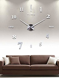 cheap -3d diy wall clock,mirror stickers mute large wall clock,wall decorations for living room bedroom office,frameless modern design (silver, 50x50cm)