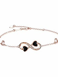 cheap -infinity ankle bracelet for women,925 sterling silver charm adjustable anklet, white gold and rose gold colours (yellow-gold-plated-sterling-silver)