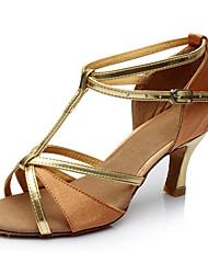 cheap -Women's Latin Shoes Jazz Shoes Ballroom Dance Modern Shoes Heel Cuban Heel Black / Gold Black / Silver Red / Performance / Satin / Leather / Practice
