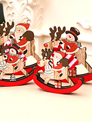 cheap -Wooden Three-Dimensional Christmas Decorations Window Display Rocking Horse Christmas Indoor Santa Claus Small Gifts 14*12/10*9
