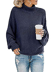 cheap -women's loose turtleneck sweaters batwing long sleeve pullover casual oversized chunky knitted jumper tops (navy, s)