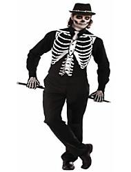 cheap -men's skeleton costume vest, black, one size