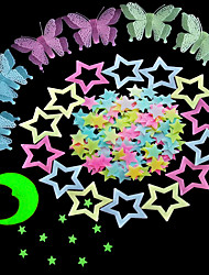 cheap -100 Pcs Colorful Glow in The Dark Luminous Stars Fluorescent Noctilucent Plastic Wall Stickers Murals Decals for Home Art Decor Ceiling Wall Decorate Kids Babys Bedroom Room Decorations