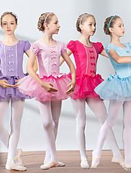cheap -Girls' Dancer Dancing Party Costume Cosplay Exotic Dancewear Elastane Cotton matte rose Pink Pink Dress
