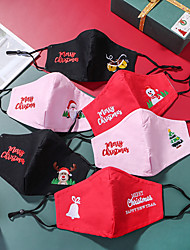 cheap -2 pcs Christmas Masks Computer Embroidery Three-layer Cotton Masks Dust And Haze PM2.5 Wth Filter