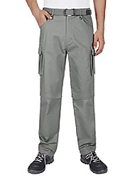 cheap -men's cargo pants cotton convertible lightweight zip off hiking travel mountain pants (dark gray, 44)