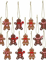 cheap -assorted clay figurine ornaments traditional gingerbread man doll gingerman hanging charms christmas tree ornament holiday decorations, 2.76 inches, set of 12