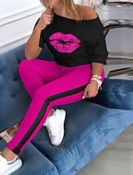 cheap -Women's Basic Print Two Piece Set T-shirt Pant Patchwork Print Tops