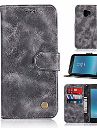 cheap -phone case for samsung j2 core/galaxy j260f / j260g / j260m vintage flip leather protective with wrist strap, credit card slots,kickstand function (gray)