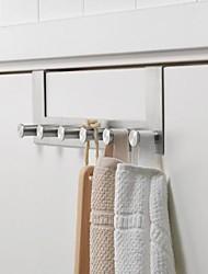 cheap -Modern Door Hook Organizer Rack, Space Aluminum Clothes Hanger, Coat Hook, Use in Bathroom and Bedroom, 6 Hooks