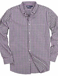 cheap -men's 100% cotton plaid long sleeve shirt (purple/black/white, regular fit: x-large)