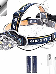cheap -head torch, 2400 lumen 3000 lumen 3500 lumen led headlamp, rechargeable led headlight flashlight, waterproof adjustable led headlamp, perfect for running, walking the dog, camping (8 led)