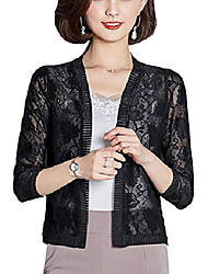 cheap -elegant women's bolero cardigan lace flowers open blazer bolero jacket shoulder jacket 3/4 sleeve top - black - 16