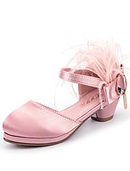 cheap -Girls' Heels Princess Shoes PU Little Kids(4-7ys) Big Kids(7years +) Party & Evening Walking Shoes White Black Pink Spring / Rubber