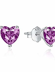 cheap -cubic zirconia stud earrings - 925 sterling silver rhodium plated heart solitaire cubic zirconia stud earrings for women (pink)