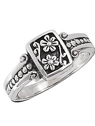 cheap -oxidized flower daisy vintage beaded ring .925 sterling silver band size 5