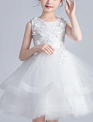 cheap -Kids Little Girls' Dress Floral Lace up White Green Above Knee Sleeveless Cute Sweet Dresses Children's Day Regular Fit