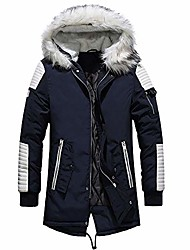 cheap -mens winter cotton thick warm parka long thermal jackets and coats with fur hood quilted puffer outwear blue