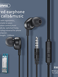 cheap -Remax RW-105 New Music Earphone With HD Mic In-ear 3.5mm Jack Wire Headphone For iPhone Xiaomi Samsung Huawei Earbuds