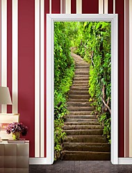 cheap -Mountain Stone Stairs Self-adhesive Creative Door Stickers Living Room Diy Decorative Home Waterproof Wall Stickers