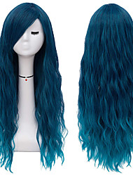 cheap -Long Blue Wigs for Women Fluffy Curly Wavy Cosplay Costume Wig with Bangs M062B