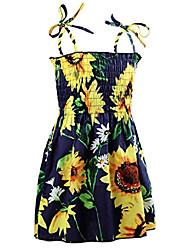 cheap -floral girls party dress summer vintage strap boho beach dress clothes for kids 3-4t navy sunflower