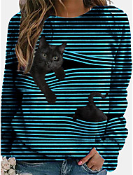 cheap -Women's T shirt Striped Long Sleeve Patchwork Round Neck Tops Loose Basic Basic Top Black Blue Yellow