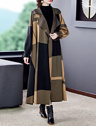 cheap -Women's Geometric Active Fall & Winter Trench Coat Long Daily Long Sleeve Cotton Blend Coat Tops Brown