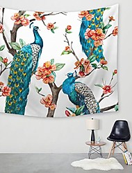 cheap -Wall Tapestry Art Decor Blanket Curtain Picnic Tablecloth Hanging Home Bedroom Living Room Dorm Decoration Polyester Branches Red Flowers Peacock Views
