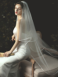 cheap -Two-tier Stylish / Classic Wedding Veil Chapel Veils with Solid Tulle