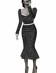 cheap -women vintage long sleeve high waist mermaid dress cocktail prom gown bodycon dress polka dot printed dresses by lowprofile black