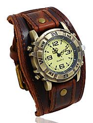 cheap -leather watch casual quartz cuff punk retro buckle strap for men