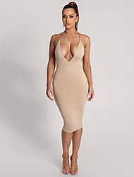 cheap -Women's Sheath Dress Knee Length Dress White Black Khaki Sleeveless Solid Color Backless Patchwork Fall Halter Neck Sexy Party Club 2021 S M L XL