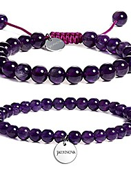 cheap -6/8mm natural amethyst gemstone bracelet elastic stretch yoga beaded bracelet bangle healing crystal bracelet couples gifts for men women (2pcs bracelet set)
