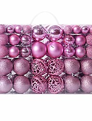 cheap -100 pcs christmas ball ornaments shatterproof christmas decorations hanging balls for xmas tree wedding party decoration, 3-6cm (pink)