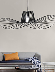 cheap -LED Pendant Light Modern Nordic Personalized Decorative Chandelier Minimalism Iron Craft E27 Black Straw Hat Light Fashion AC110V 220V