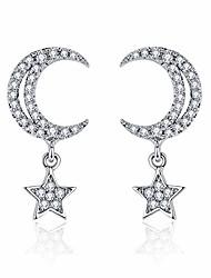 cheap -925 sterling silver cz moon stud earrings, micro pave shinning cubic zirconia star dangle drop earrings for women (moon)