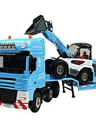 cheap -1:50 scale equipment alloy trailer moveable model semi truck with skid steer loader toy vehicle